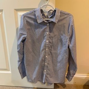 Blue and White Striped Button Up